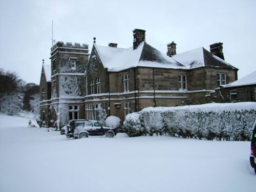 Hargate Hall in the snow
